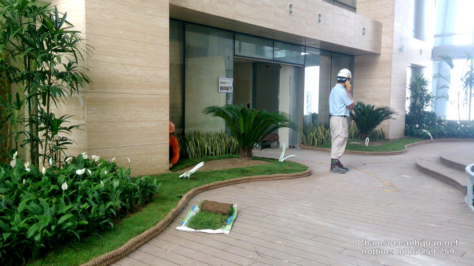Thi công cảnh quan tầng Sky tòa nhà Lotte Center Hà Nội