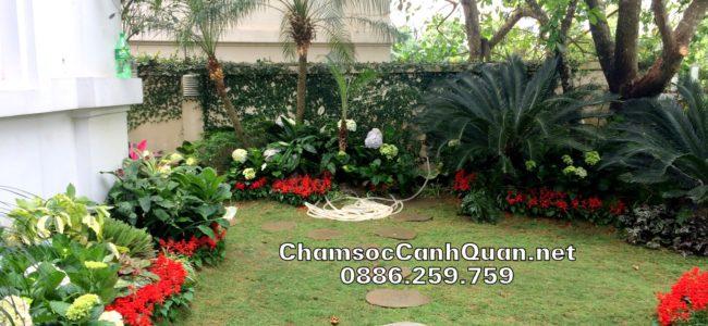 Thi công sân vườn đẹp Vinhomes